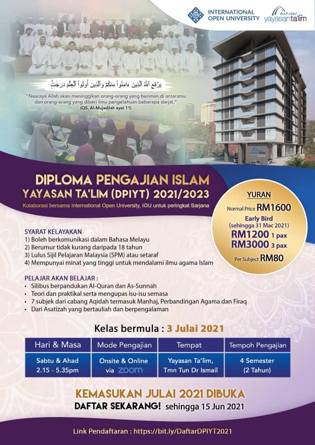Diploma Pengajian Islam 2021 Per Subjek - Sem 1 - RM80.00