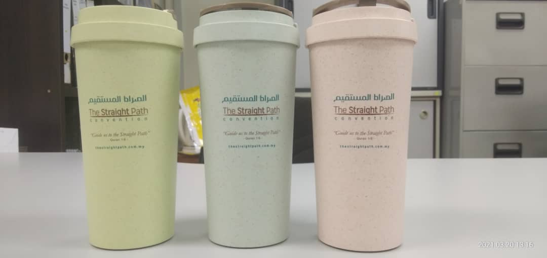 PRE-ORDER - ECO TUMBLER STRAW WHEAT DOUBLE WALL CUP 500ML - RM25.00
